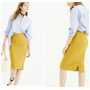 J.Crew Sz 6 Wool Mustard Yellow No. 2 Pencil Skirt